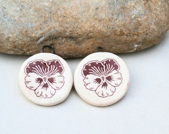 decals - 2 handmade ceramic charms for earrings , beige brown, ceramic supply, flower pansy
