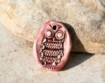 good luck charm, owl pendant, pink pendant, happiness