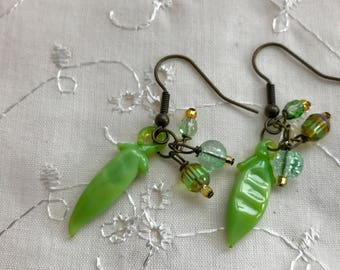 Pea Pod Green Glass Dangle Earrings Doodaba