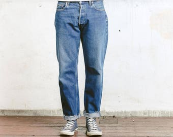 LEVIS 517 04 Jeans . Denim Jeans Vintage Levi Strauss Red Tab Jeans 80s Disteressed Faded Ripped Jeans Straight Leg Size W34 L32 Jeans