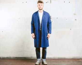 Chore Coat . Mens WORK Jacket Indigo Blue Boro Vintage Workwear Canvas 1970's Distressed Outerwear Artist Mechanic Coat . size Large XL