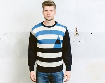 Vintage 1970s SAILOR SWEATER . Mens 70s Mod Navy Blue White Breton Striped Italian Plain Knit Nautical Preppy Wool  Sweater . size Medium