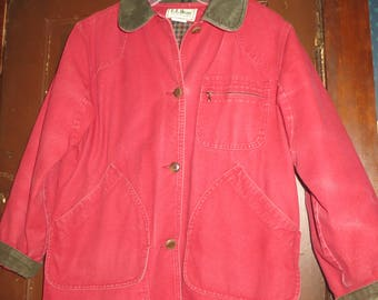 Vintage LL Bean Field Coat Jacket.red  cotton Canvas  w/ Corduroy Trim & Flannel Lining.  Barn Chore Coat, Camp Jacket,  womens med