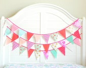 Bunting Garland / Pink and Turquoise Baby Shower / Coral and Mint Nursery / Girl Birthday Banner / Fabric Garland Banner / Bunting Banner