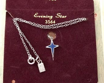 Evening Star Vintage Emmons Signed Necklace Enamel pendant Silver New Card Star Gazer necklace, party favors, astronomy gift NOS, G69
