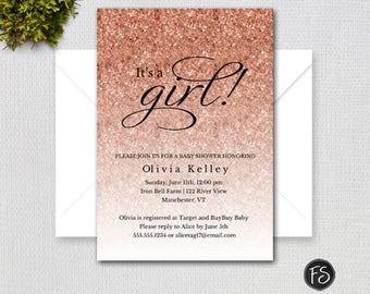 Rose Gold Sparkle Glitter Baby Shower Invitation, Rose Gold Faux Glitter, Printable Digital Invitation,  Item #8221