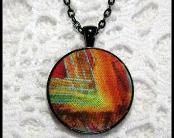 Fabric Pendant - Artsy Jewelry - Fiber Art - FP62