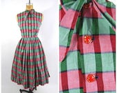 ON SALE 1950s Plaid Cotton Dress - Sleeveless Tie Neck Red and Green - Full Skirt - Side Zip glass buttons