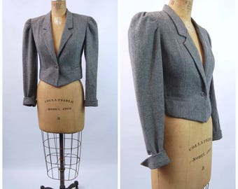 1970s Does 40s Grey Wool Bolero Jacket - MG Concepts in Sportswear // 1940s Mutton Sleeves Cropped Tweed