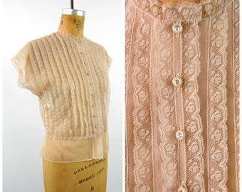 Early Mid 1950s Sheer Pink  Lace Nylon Blouse // Rhinestone Buttons // Light Pink - Nipped Waist // Dusty Rose Pink by Eclipse Size 36
