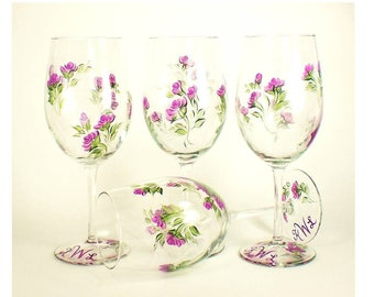 Set of 4 Hand Painted Wine Glasses - Violet Purple  Roses, Green Leaves - Housewarming Gift Ideas Hostess Gifts
