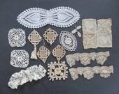 Assorted Antique Handmade Lace Appliques Irish Crochet Needlelace more Repurpose as found