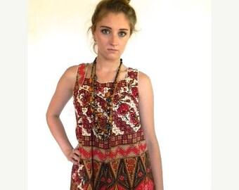 SUMMER SALE vintage.  Indonesian Batik Red Tent Dress / Cotton Dress // Free Size