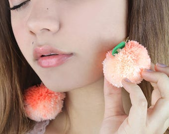 peach pompom earrings- pompom earrings