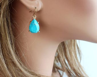 Turquoise Dangle Earrings, Gemstone Earrings, Real Stone Earrings, Large Blue Earrings, Celebrity Inspired Earrings, Everyday Earrings