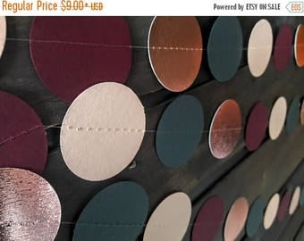 End of Summer Sale BURGUNDY, Dark Gray, Peach, and ROSE GOLD Foil Garland, Perfect for Weddings, Bridal Showers, Baby Showers, Engagement Pa