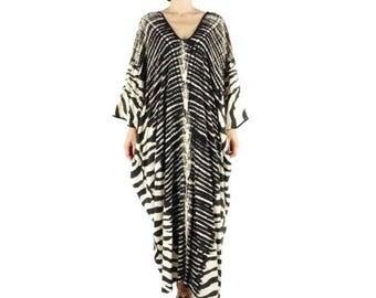 One Of A Kind - Graphic Snake Skin Printed Black Light Nano Rayon Kaftan Dress Poncho Dress Women Tops Maxi Dress Can Fit Up To 6X