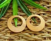 Round Wood Hoop Earrings | Wooden Hoop Earrings | Black Brown Pecan & Natural Stained Wood Hoops | The Classic Collection