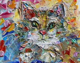 Pretty Kitten painting original oil 6x6 palette knife impressionism on canvas fine art by Karen Tarlton