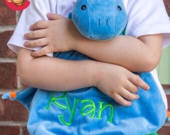 Blue Dinosaur Minky Blanket - Blue Monogrammed Dino Blankie - Monogram Baby Gift - Security Blanket