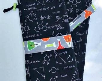 Science Geek Swift KnitPicks Yarn Ball Winder Cover Case Drawstring Carrying Bag Spinning Supplies Black Green Orange - Molecules - Beakers