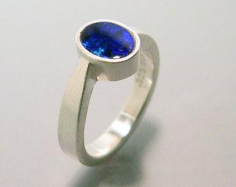 Blue Boulder Opal Ring Sterling Silver