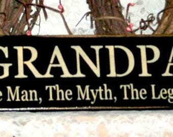 Grandpa signs etsy personalized sign grandpa the man the myth the legend primitive country sciox Gallery