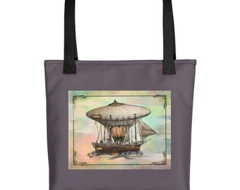 Up , up & Steam Away ! Original Art Work with Steampunk Flair -Tote/ Travel bag