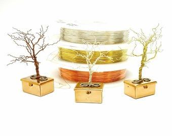 Trio of  Winter Trees\ Wire Tree Sculpture\ Tooth Fairy Box\ Tree Art\ Wire Trees\  Gifts for Her\  Gift Idea\ Cute Pill Boxes\ Gift for him