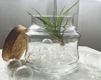 Vintage Glass Apothecary Jar with Cork Lid
