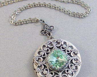Peridot Moon,Peridot Necklace,Green Locket,Green,Peridot,Peridot Locket,Princess Cut.August Birthstone,Peridot Birthstone.Valleygirldesigns.