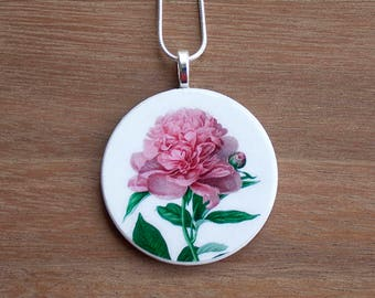 Peony Necklace, Peony Pendant, Vintage Peony, Handcrafted Jewelry, Gift for Nature Lovers, Free Shipping in US