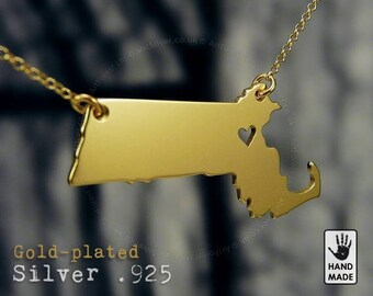 MASSACHUSETTS State Map Handmade Personalized Goldplated Sterling Silver .925 Necklace in a gift box