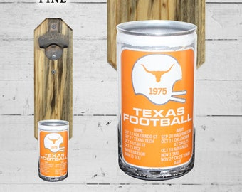 Barware Bottle Opener University of Texas Wall Mounted Bottle Opener with Vintage Longhorn 1975 Beer Can Cap Catcher