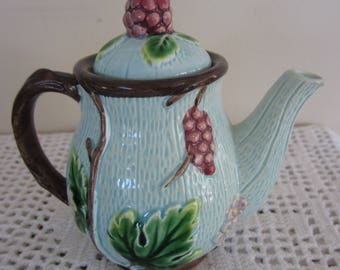 Vintage Shafford Majolica Style Pitcher or Creamer Made in Japan Fruit and Flower Raised Pattern