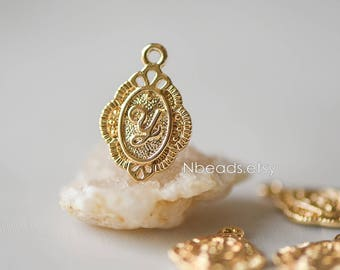 10pcs Real Gold plated Brass Flower Charms 16mm, Letter Y Pendants (GB-113)