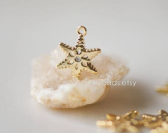 10pcs Gold Snowflake Charms 12mm, Real Gold plated Brass Star Flower, Lead Nickel Free (GB-119)