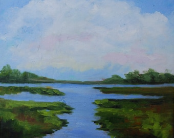 18 x 18 Modern Impressionist Kiawah Island Marsh Original Oil Landscape Painting by Rebecca Croft