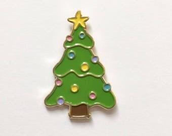 Christmas Tree Enamel Pin - Pine Tree Pin - Holiday Pin - Lapel pin for Christmas - Stocking Stuffer - Merry Christmas Pin