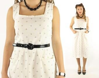 Vintage 40s 50s Day Dress Atomic Print Polka Dot Linen White Sleeveless 1940s 1950s Medium M Pinup Rockabilly Yellow Black