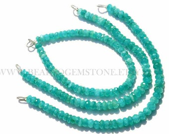 Semiprecious Gemstone beads, Supper Quality Amazonite beads, Faceted Rondelle, (Quality AAA), 18 cm, 5.5 to 6 mm, AM-072, Craft Supplies