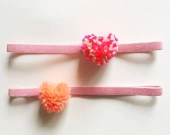 heart pom pom headband