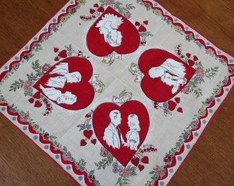 "Vintage Sweetheart Handkerchief - 13"" square - Valentines Day Bridal Wedding Anniversary"