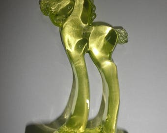 MOSSER Grecian Horse -  Marked capitol M -Vaseline Glass - GLows in Black Light -5.5 inches tall - Excellent