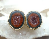 Geode Halves Gold Ear Stud, Natural Mexican Tobasco Agate Half Geode Earrings, M102