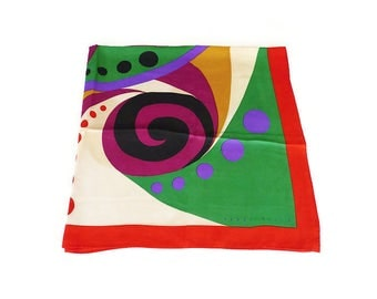 Perry Ellis Color Block Silk Scarf - Abstract Design, Designer Fashion, Picasso Style, Womens Scarf, Vintage Accessories