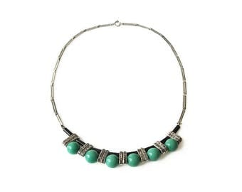 Art Deco Galalith Chrome Necklace, Jakob Bengel Style, Channel Set Rhinestones, Teal Green Black Beads, Art Deco Jewelry
