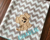 Puppy Blanket- Personalized Baby Blanket- Puppy Baby Blanket- Dog blanket- Chevron Baby Blanket- Nursery Blanket