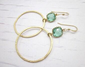 Glass Hoop Earrings -- Light Hoops -- Mint Glass Earrings -- Sea Green & Gold Earrings -- Mint Glass Hoop Earrings -- Gold and Mint Hoops