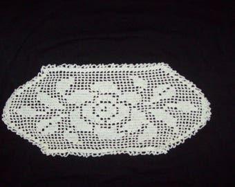 "Rose Filet Crochet Doily Table Centerpiece White Cotton Oval Flower Doily  16"" X 7"""
